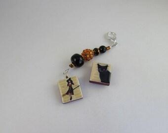Witch & Cat  Scissor fob and Needle minder set