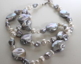 Pearl necklace//Grey and white//large coin fresh water pearls
