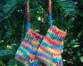 Mini Knitted Socks Ornament, Handmade Stocking Decoration, Rainbow Hand Knit Miniaure Socks, Gift Decoration, Small Socks Christmas Ornament