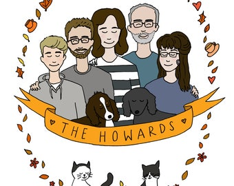 Personalised Family Illustration - Family of 6 People and Pets - Wedding, Anniversary, Birthday Present, Custom Gift