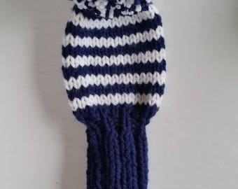 GOLF CLUB HEAD-Cover, Retro Hand Knit with Pom Pom Custom Colors, pom poms for No. 5 woods, fairway golf clubs