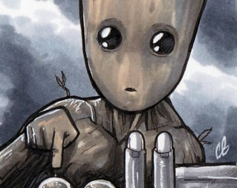 Groot Guardians of the Galaxy Copic MarkerSketch Card