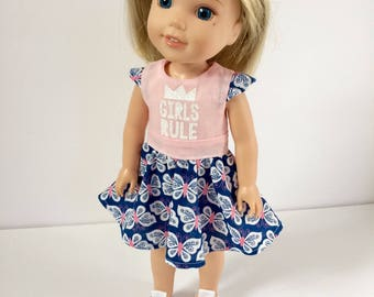 Doll dress. Girls rule doll dress. Handmade doll dress to fit American Girl Wellie Wisher doll. 14 inch doll dress. Pink/blue butterfly.