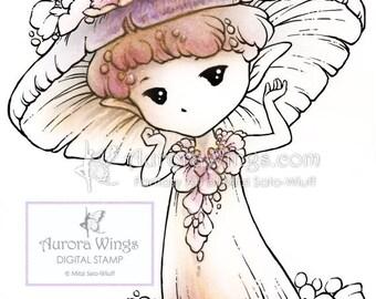 Digital Stamp - Mushroom Flower Sprite - Whimsical Mushroom Fae - digistamp - Fantasy Line Art for Cards & Crafts by Mitzi Sato-Wiuff