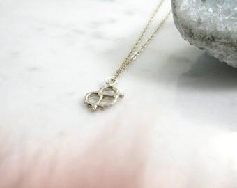 Pretzel Necklace. The Teeny Tiny Pretzel Necklace. Gold Pretzel. Silver Pretzel. Rose Gold Pretzel.