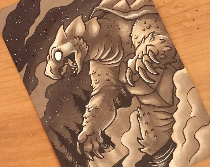 Cryptid Inktober 2017 Illustration - Beast of Busco