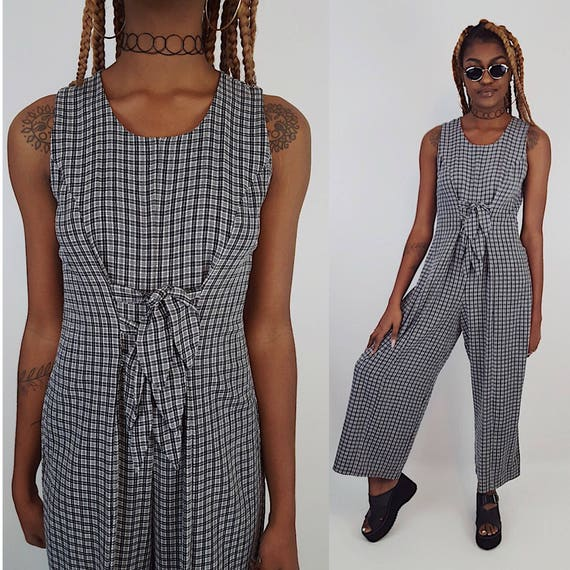 90s Vintage Plaid Baggy Jumper Pants Suit - Hipster 1990s Tie Front Jumpsuit Pants Jumper One Piece Suit - Vtg Women's Plaid Classic