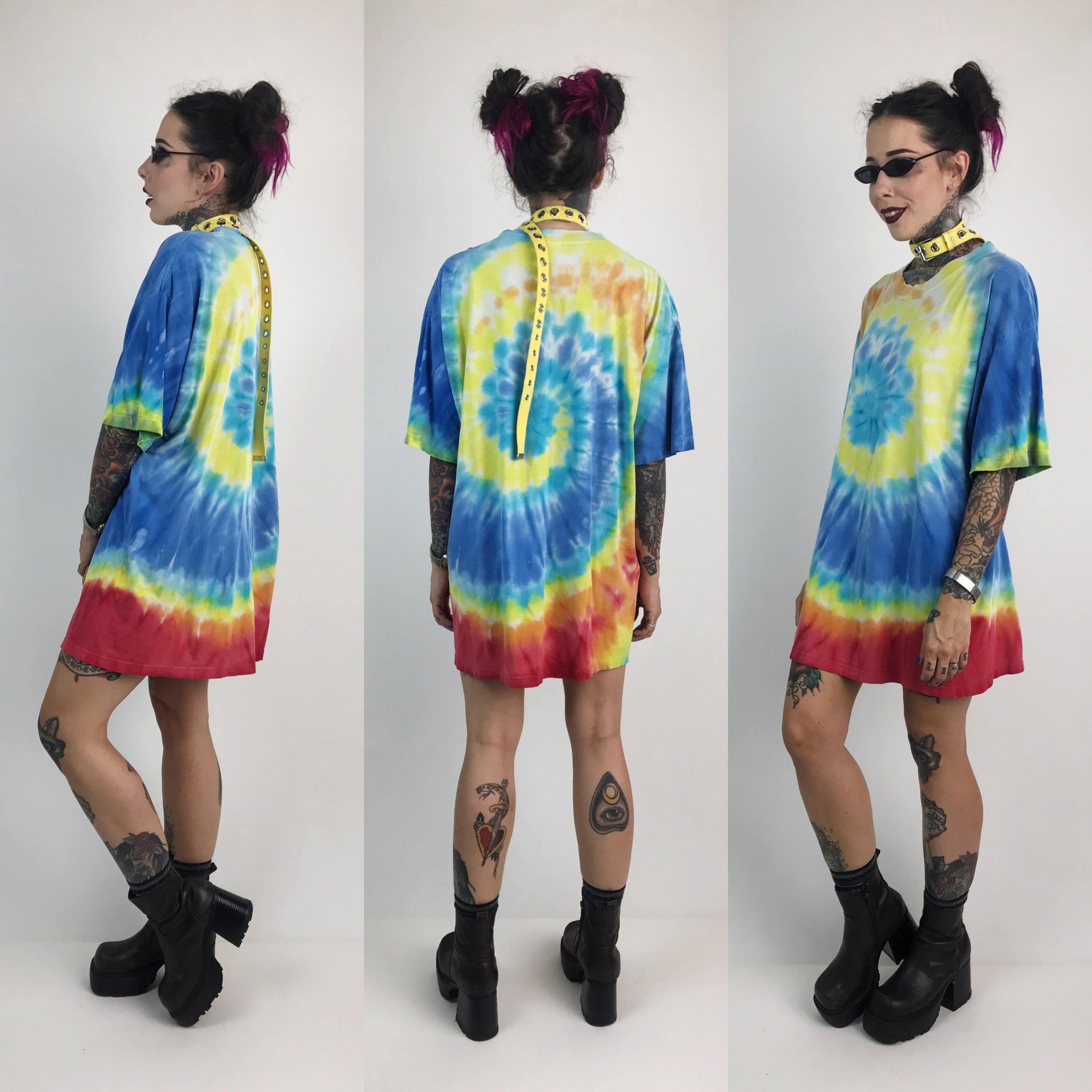 Rainbow tie dye swirl distressed holey t shirt xl unisex for Optima cotton wear t shirts