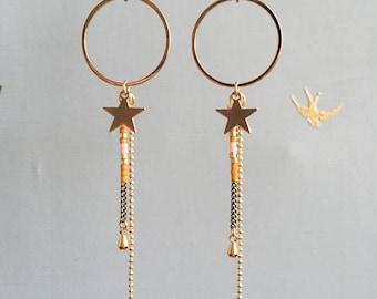 Delilah - Boucles d'oreilles dorées longues, breloques, miyuki et étoile
