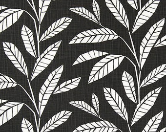 Leaves Black Ink Designer Fabric Home Decor Fabric Upholstery Fabric - 1/2 Yard