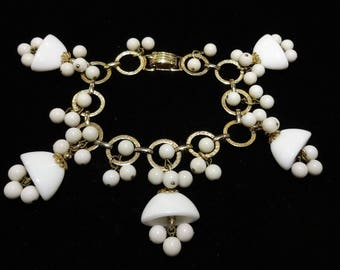 Vintage Napier White Glass Beaded Charm Bracelet