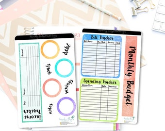 Monthly Budget Note Page Stickers / Budget Tracker Note Page Stickers for Erin Condren / Budget Stickers / Finance Planner Stickers