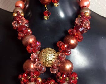 Orange, Red & Gold Torus Collection Necklace Sample Sale