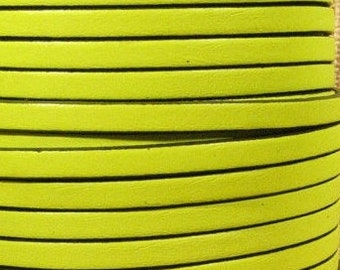 "Per 24"" Fluorescent Yellow 5mm flat leather with Black Trim, Neon yellow"