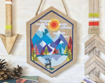 Alpine - Satsuma Street mountain scene - modern folk cross stitch pattern - Instant download PDF