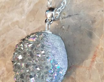Rainbow Titanium Aura Pendant Necklace