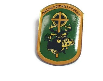 Religious Brooch Christian Sportsmens Fellowship Brooch Christian Fellowship Lapel Pin Hunting Brooch