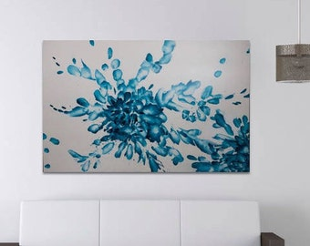 Blue Abstract Acrylic on White