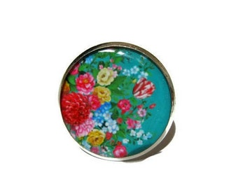 Electric Floral Ring - Vintage fower ring - Statement Ring - green ring - green jewelry - Summer Jewelry - Adjustable - Under 10 USD