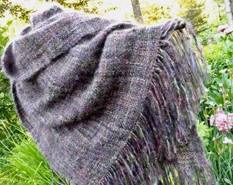 Handwoven Variegated Brushed Mohair Wrap, Shawl in Jewel Tone Colors