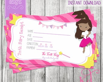 Tooth Fairy Receipt  - Printable   Instant Download