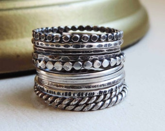 Oxidized Sterling Silver Stacking Rings, Custom Hammered Textures, Darkened Patina, Primitive Gypsy Boho Thin Band Midi Rings