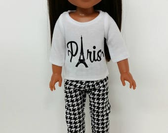 Handmade Doll Clothes fits 14.5 inch dolls like Wellie Wishers, Doll Shirt, Doll Pants, Paris, Eiffel Tower, Houndstooth, Black, White,