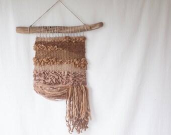 Handwoven Tapestry, Driftwood Wall Art, Natural Dye, Wool, Alpaca, Silk