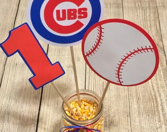 Chicago Cubs Inspired - Baseball - Birthday Centerpiece Decorations