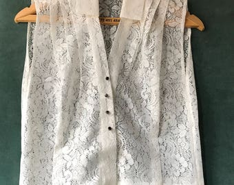 60s White sheer blouse / sheer lace top / sleeveless blouse / bridal top / size S  M