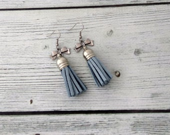 Boho - blue tassel earrings, blue earrings, tassel earrings, tassel jewelry, statement earrings, boho jewelry, summer jewelry, bohemian