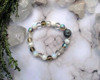 Opalite Iridescent Druzy Quartz Stretch Bracelet