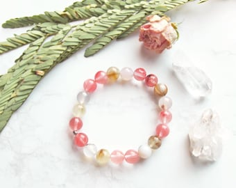 Watermelon Quartz Gemstone Stretch Stacking Bracelet