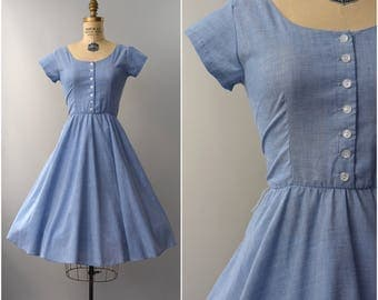1970's light blue chambray cotton short sleeve day dress • small