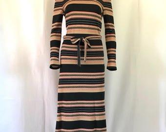1970's Arrow-striped knit midi dress sz. S