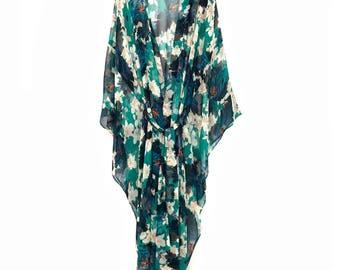 silk kimono, silk kaftan robe, silk robe, silk kaftan, silk beach cover up, silk kimono, long silk kimono, silk chiffon kimono,