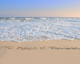 Personalized sand writing photo, digital download