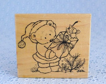 Santa Bear Stamp, Teddy Bear with Gift, Wood Mounted Rubber Stamp, Christmas Crafts, Great Impressions, Paper Crafting, Card Making