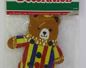 Vintage 1980' NOS Novelty two sided movable circus clown teddy bear Christmas ornament. - Free Shipping Domestic USA