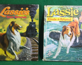 Pair of vintage Whitman Tell a tale books Lassie Finds a Friend and Lassie's Brave Adventure Authorized Edition.