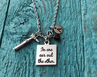Otoscope, medical, audiology, Silver jewelry, Auriscope, audiologist, doctor, physician, Silver necklace, Charm Necklace, Scope, Gifts for