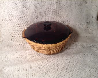 Vintage Amber Brown Fire King Casserole Dish - Anchor Hocking Oven Proof, Made in USA - 1 1/2 Quart Bowl, Lid, & Wicker Basket Carrier