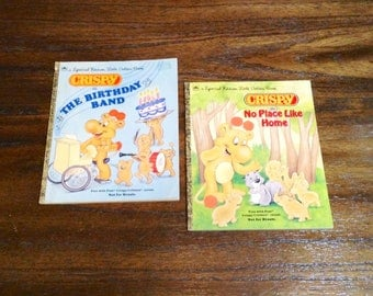 Set of 2 Vintage Crispy Critters Books - 1980s Special Edition Little Golden Books - Crispy in No Place Like Home & in the Birthday Band