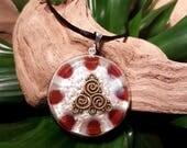 Carnelian Orgone Pendant  - Triskele/ Triskelion - Sacral Chakra Energy - Healing Crystal Pendant - Spiritual New Age -Large