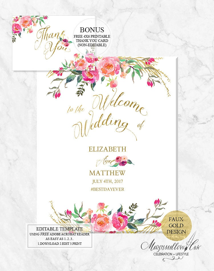 Wedding Welcome Signs, Wedding Signs Wedding Template DIY Wedding Printable, Welcome Sign Printable PDF Wedding Signs Wedding Reception Sign