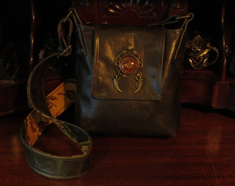 Gothic Dragon  and Dagger Leather Messenger Bag -- Renaissance Renegade