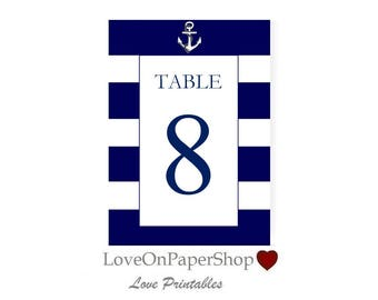 """Printable Nautical Table Numbers * Beautiful 5""""x7""""  Nautical Anchor * Editable Text * Template * Microsoft.Doc * Instant Download *"""