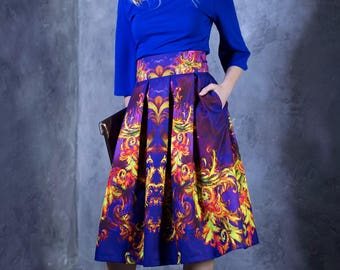 Purple Skirt, Japanese Clothing, Tribal Skirt, Colorful Skirt, High Waist Skirt, Knee Length Skirt, Pocket Skirt, Loose Skirt, Boho Skirt