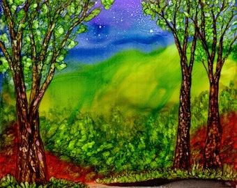 Print. Alcohol Ink. Alcohol Ink Art.  Alcohol Ink Print. Art Print. Wall Art. Landscape. Prosperity Mountain.