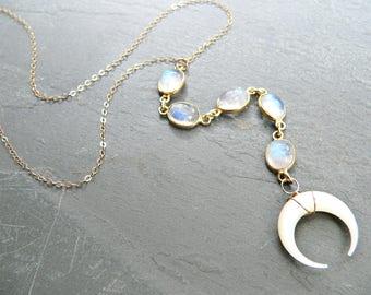 Rainbow Moonstone + Crescent Moon Lariat Necklace
